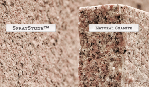 spraystone vs natural granite image comparison